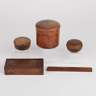 Grp: 5 Scholar's Vessels - Brush Box, Scroll Weight, 3 Paste Boxes