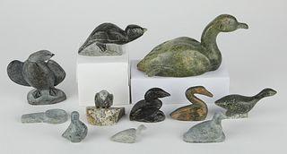 Lrg Grp: 10 Stone Inuit Carvings Geese & Ducks