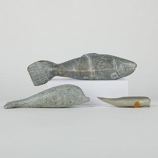 Grp: 3 Stone Carvings Fish & Dolphin