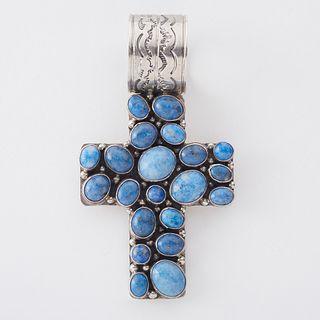 Nakai Navajo Sterling Silver Turquoise Cross Pendant