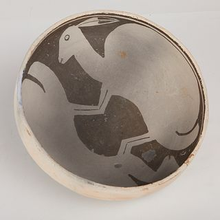 Mimbres Two Rabbits Pottery Bowl