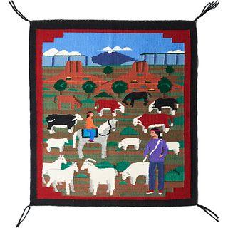 Pictorial Navajo Rug Weaving Blanket Prairie Farm Scene