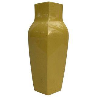 Large Hexagonal Shape Yellow Ceramic Vase