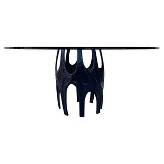 Brutalist Dining Table with Glass Top by Arteriors
