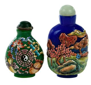 Two Chinese Enameled Glass Snuff Bottles