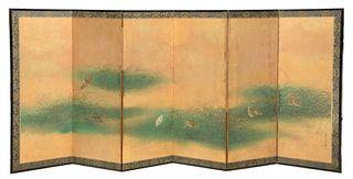 Large Tosa Mitsunari Attributed Japanese Wall Screen