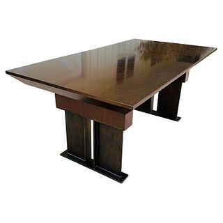 Stunning Wood & Steel Desk With Knife Edge Top