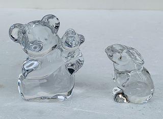 Rabbit, Teddy Bear & Cub Crystal Figurines by Orrefors