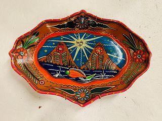 Hand Painted Ocumicho Style Clay Tray