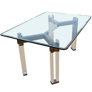 Dining Table in Brass & Lucite by Charles Hollis Jones