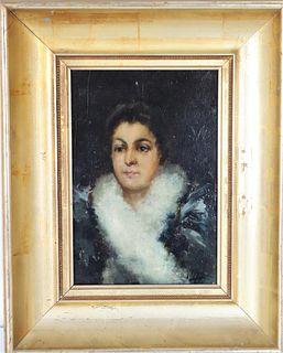 19th C. Spanish Portrait of a Lady, Oil/Panel SLR