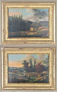 Pr. European Village Scene, Oil on Board Paintings