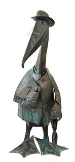 Palace Sized Patinated Copper Pelican Sculpture