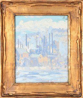 American Impressionist Industrial Scene ca 1920