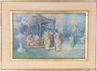 R. Yoshida (19th/20th c) Japanese, Oil on Panel