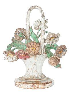 Victorian Cast Iron Floral Basket Doorstop