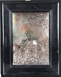 Silver on Copper Relief of Figure Riding Elephant