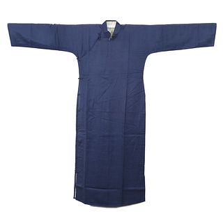 A BLUE-GROUND EMBROIDERED LADY'S ROBE