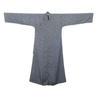 A GREY-GROUND EMBROIDERED LADY'S ROBE