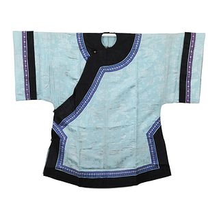 A SKY-BLUE GROUND EMBROIDERED LADY'S ROBE