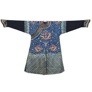 A BLUE-GROUND EMBROIDERED 'DRAGONS' ROBE