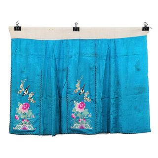A BLUE-GROUND EMBROIDERED FLORAL SKIRT