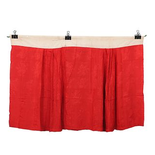 A RED-GROUND EMBROIDERED SKIRT