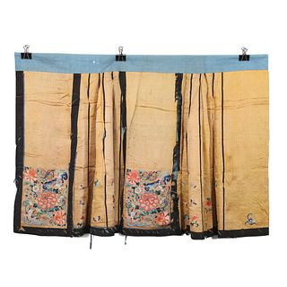 A YELLOW-GROUND EMBROIDERED FLORAL SKIRT