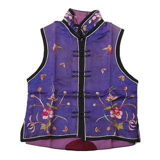 A PURPLE-GROUND EMBROIDERED FLORAL WAISTCOAT