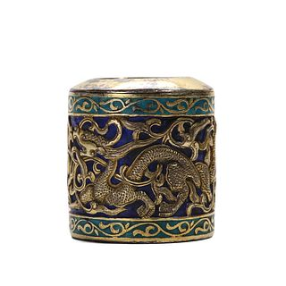 AN ENAMELLED SILVER THUMB RING