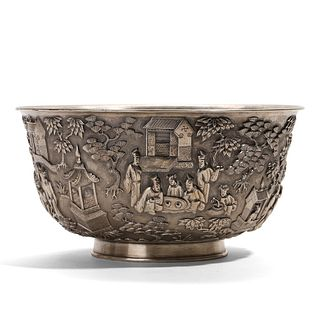 A HIGH-RELIEF 'FIGURES' SILVER BOWL