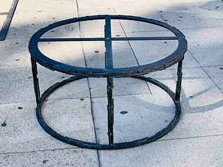 Brutalist coffee table base made in solid steel