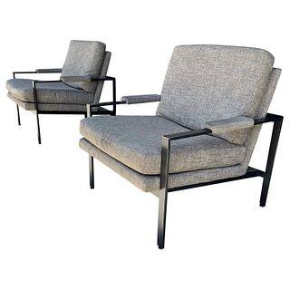 Pair of Flat Bar Arm Chairs attb to Milo Baughman