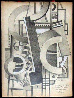 Element Mecanique: Fernand Leger, Graphite & Watercolor on paper, 1920's