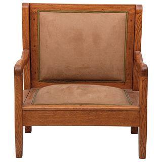 SILLÓN SIGLO XX Elaborado en madera. Con tapicería beige Detalles de conservación 84 cm de alto | ARMCHAIR 20TH CENTURY Made in wood. With beige uphol