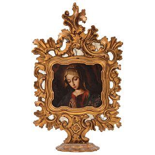 "A LA MANERA DE GIOVANNI BATTISTA SALVI, ""IL SASSOFERRATO""  VIRGEN MARÍA MÉXICO, SIGLO XVIII Óleo sobre lámina de cobre 22 x 24 cm   IN MANNER OF GIOVA"