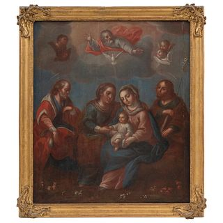 LOS CINCO SEÑORES MÉXICO, SIGLO XVIII Óleo sobre tela Detalles de conservación 61 x 52 cm   LOS CINCO SEÑORES MEXICO, 18TH CENTURY Oil on canvas Conse