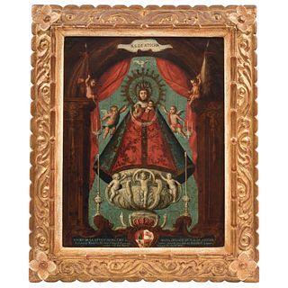 VERA EFIGIE DE NUESTRA SEÑORA DE ATOCHA MÉXICO, SIGLO XVIII Óleo sobre lámina de cobre Detalles de conservación 40 X 31 cm   VERA EFIGIE DE NUESTRA SE