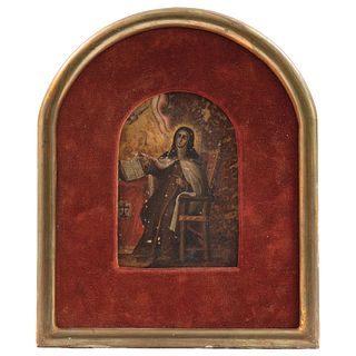 SANTA TERESA DE JESÚS MÉXICO, SIGLO XVIII Óleo sobre placa de mármol 12.5 x 9 cm   SANTA TERESA DE JESÚS MEXICO, 18TH CENTURY Oil on marble plate 4.9