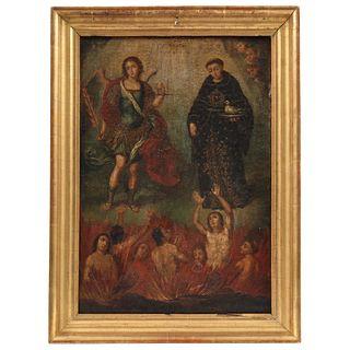 SAN NICOLÁS TOLENTINO CON SAN MIGUEL ARCÁNGEL Y LAS ALMAS DEL PURGATORIO MÉXICO, SIGLO XVIII Óleo sobre tela 52 x 37 cm   SAN NICOLÁS TOLENTINO CON SA