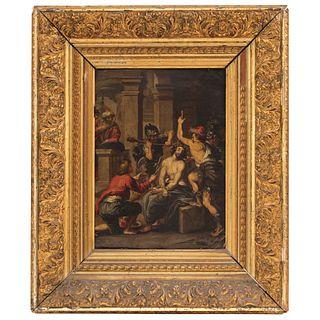 EL ESCARNIO DE CRISTO MÉXICO, SIGLO XVIII Óleo sobre lámina de cobre Detalles de conservación. Ligeros desprendimientos 34 x 27 cm   EL ESCARNIO DE CR