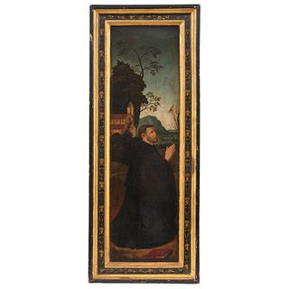 SAN ANTONIO EUROPA, SIGLO XIX Óleo sobre tabla  Detalles de conservación  74 x 22 cm   SAN ANTONIO EUROPE, 19TH CENTURY Oil on wood Conservation detai