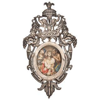 ECCE HOMO EUROPA, SIGLO XIX  Óleo sobre marfilina en relicario de plata con cristal Detalles de conservación 7 x 5.5 cm   ECCE HOMO EUROPE, 19TH CENTU