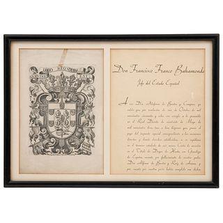 CARTA DE SUCESIÓN DEL TÍTULO DE DUQUE DE HUETE ESPAÑA 1958 Firmada por Don Francisco Franco Bahamonde con sello y escudo 47 x 33 cm | LETTER OF SUCCES