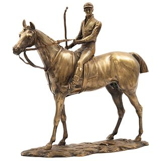 GEORGES HENRI TRIBOUT FRANCIA, (1884-1962) JINETE Fundición en bronce. Incluye base de madera 27 cm