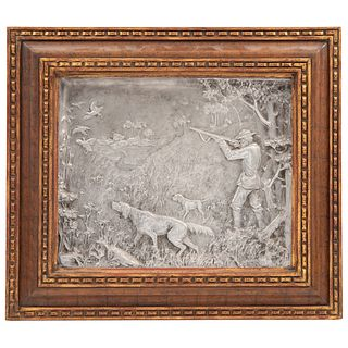 ESCENA DE CACERÍA EUROPA, 1909 Alto relieve en placa de metal Detalles de conservación 31 x 38 cm | ESCENA DE CACERÍA EUROPE, 1909 High relief on meta