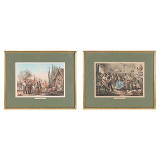CASIMIRO CASTRO - J. CAMPILLO TRAJES MEXICANOS MÉXICO: LITOG. DE DEBRAY EDITOR, CA. 1856. Litografías coloreadas. Piezas: 2. | CASIMIRO CASTRO - J. CA