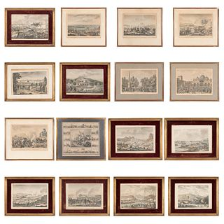 LOTE DE 16 GRABADOS COLOREADO DE BATALLAS EN LA PRIMERA REPÚBLICA FRANCESA Y CELEBRACIONES. Piezas: 16. | LOT OF 16 COLORED ENGRAVINGS OF BATTLES IN T