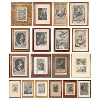 LOTE DE 18 GRABADOS: RETRATOS, PORTADAS, ESCUDO DE ARMAS PARÍS / NEW YORK / ROMA, SIGLOS XVII - XIX. Piezas: 18 | LOT OF 18 ENGRAVINGS: PORTRAITS, COV