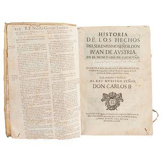 FRANCISCO FABRO BREMUNDAN HISTORIA DE LOS HECHOS DEL SERENISSIMO SEÑOR DON IVÁN DE AUSTRIA... ZARAGOZA, 1673.   FRANCISCO FABRO BREMUNDAN HISTORIA DE